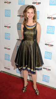 Calista Flockhart looked flirty and feminine in this A-line dress with striped trim.