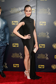 True O'Brien sizzled in a caped, high-slit black gown during the Daytime Emmy Awards.