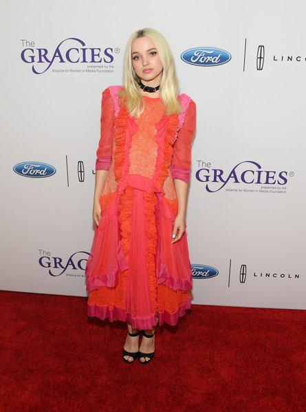 More Pics of Dove Cameron Peep Toe Pumps (1 of 3) - Dove Cameron Lookbook - StyleBistro [red carpet,clothing,carpet,dress,fashion,pink,premiere,hairstyle,flooring,cocktail dress,arrivals,dove cameron,beverly wilshire hotel,beverly hills,california,annual gracie awards]