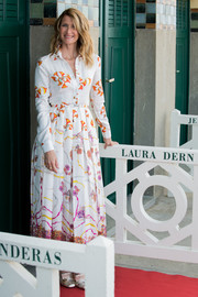Laura Dern kept it business-like in a printed shirtdress by Gabriela Hearst at the Deauville American Film Festival photocall.