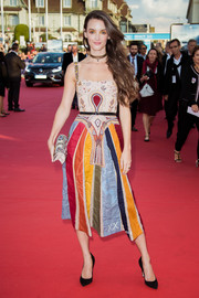 Charlotte Le Bon was eye candy in an embroidered color-block midi dress by Dior at the Deauville American Film Festival opening ceremony.