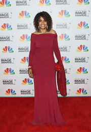 Beverly Todd wore this off-the-shoulder Merlot gown to the NAACP Image Awards.