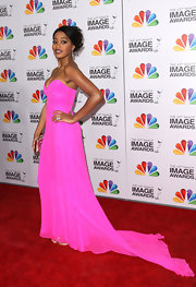 Keke Palmer looked high fashion in this hot pink gown with a dramatic train at the NAACP Image Awards.