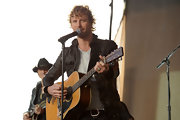Dierks looks rugged in leather as he performs on 'Good Morning America'.