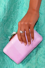 Kerry's blush-toned nails looked all the more elegant with their elongated, oval silhouette.