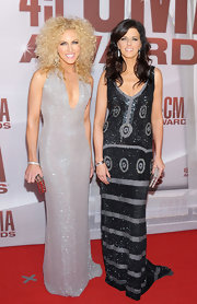 Karen Fairchild wore a sparkling silver beaded gown for the CMA Awards.