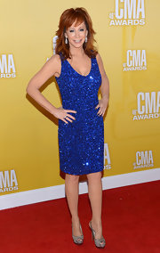 Reba shimmered from top-to-toe on the CMA Awards red carpet in a pair of glitter peep-toe slingbacks.