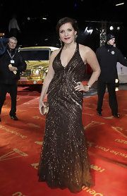 Birgit Schrowange oozed Old Hollywood glamour at the Golden Camera Awards in a beaded halter gown.