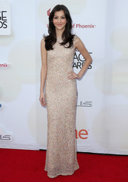 Katie Findlay kept it classic in a fully beaded column dress during the NAACP Image Awards.