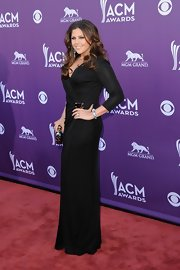 Hillary Scott looked stunning in this slimming black wrap-dress at the Academy of Country Music Awards.
