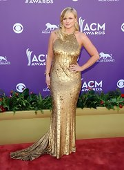 Miranda paired a diamond swallow cuff with her golden gown at the 47th Annual Academy of Country Music Awards.