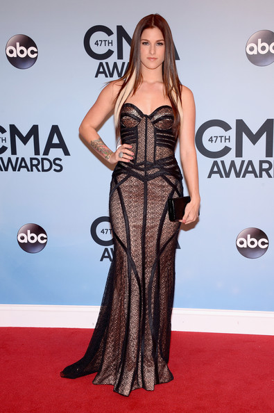 Cassadee Pope was goth princess at the CMA Awards in a black Jovani corset dress with a nude underlay.