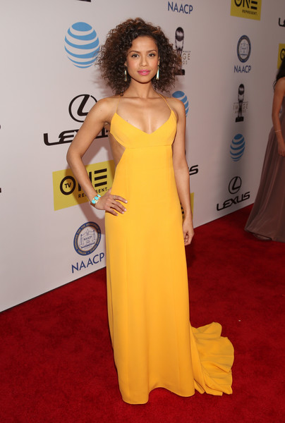 More Pics of Gugu Mbatha-Raw Cuff Bracelet (1 of 4) - Bracelets Lookbook - StyleBistro [dress,clothing,fashion model,red carpet,gown,shoulder,carpet,yellow,flooring,hairstyle,gugu mbatha-raw,naacp image awards,pasadena civic auditorium,california,tv one,red carpet]