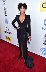 Tracee Ellis Ross channeled Old Hollywood with this Rubin Singer multitextured fishtail gown with a plunging neckline and a high front slit for her NAACP Image Awards look.