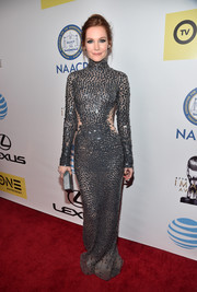 Darby Stanchfield showed off her enviable figure in a body-con gray paillette gown by Yanina Couture at the NAACP Image Awards.