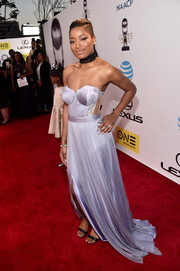 Keke Palmer was boudoir-glam in a lace-accented lavender corset gown by Cristallini at the NAACP Image Awards.