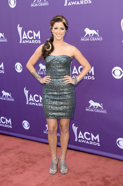 Cassadee Pope showed off her edgy side with a gunmetal sequined frock.