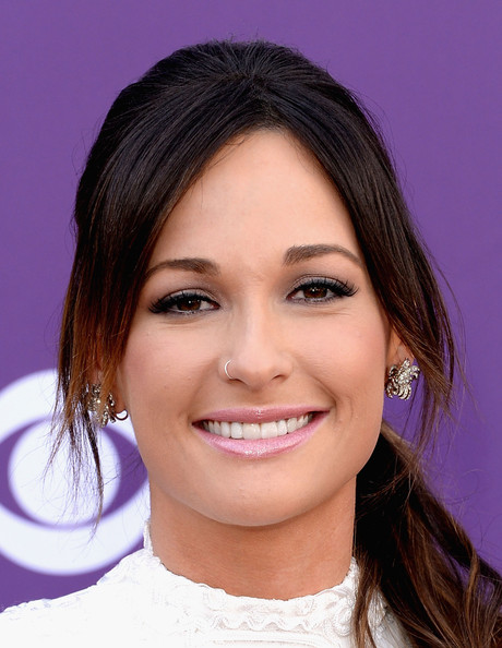More Pics of Kacey Musgraves Dangling Diamond Earrings (4 of 6) - Dangle Earrings Lookbook - StyleBistro [eyebrow,face,beauty,chin,cheek,hairstyle,purple,smile,forehead,lip,arrivals,kacey musgraves,nevada,las vegas,mgm grand garden arena,academy of country music awards]