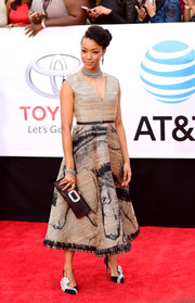 Sonequa Martin-Green chose a beige horse-print cocktail dress by Dior for the 2018 NAACP Image Awards.