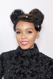 Janelle Monae attended the NAACP Image Awards looking cute with her pigtail buns.