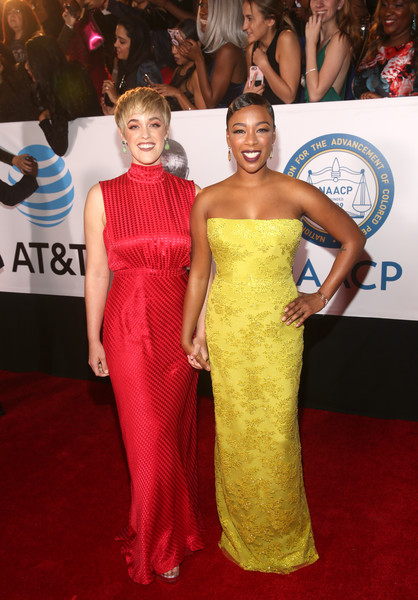 More Pics of Samira Wiley Strapless Dress (5 of 10) - Dresses & Skirts Lookbook - StyleBistro [red carpet,red carpet,carpet,dress,clothing,gown,shoulder,fashion,flooring,premiere,hairstyle,lauren morelli,samira wiley,pasadena civic auditorium,california,l,naacp image awards]