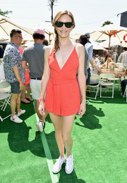 Danielle Panabaker looked ready to hit the beach in this red wrap-style romper during the Crab Cake LA fundraiser.