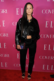 Jen Kao chose an oversized patent leather jacket for a chic rocker look.