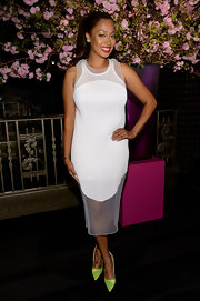 La La Anthony chose a classic white frock with mesh paneling for her look at the Elle Women in Music Celebration.