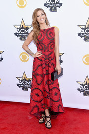 Cassadee Pope got all glammed up in a red Badgley Mischka print gown with sheer black inserts for the Academy of Country Music Awards.