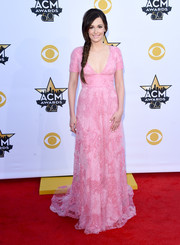 Kacey Musgraves looked quite the princess in a beaded pink Monique Lhuillier gown during the Academy of Country Music Awards.