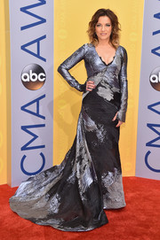 Martina McBride went for edgy elegance in a silver and black fishtail gown by Rubin Singer at the CMA Awards.