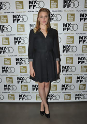 Greta Gerwig kept it casual yet smart in a belted black shirtdress at the New York Film Festival Live Talks.