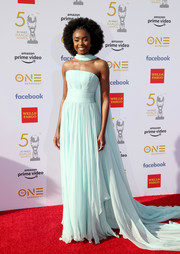 Kiki Layne looked ethereal in a strapless baby-blue gown by Georges Chakra Couture at the 2019 NAACP Image Awards.