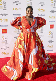 Danielle Brooks made a vibrant choice with this Lavie By CK printed ballgown for the 2019 NAACP Image Awards.