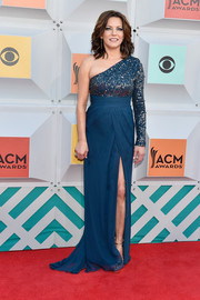 Martina McBride went for classic glamour at the Academy of Country Music Awards in a blue Kayat one-shoulder gown with a sparkly bodice and a high slit.