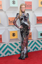 Nicole Kidman sheathed her slim frame in an Alexander McQueen sequin gown for the Academy of Country Music Awards.
