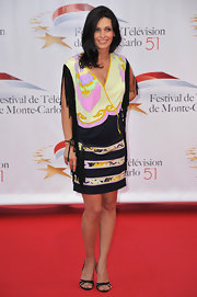 Adeline Blondieau's tasseled print dress was a chic way to show off her growing baby bump.