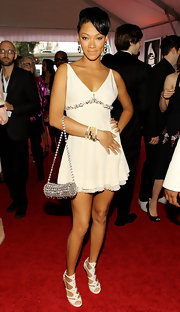 Bria Murphy chose a sexy little white dress with a deep-v neckline and a flirty hem for the Grammy Awards.