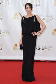 Michelle Borth looked like she was channeling a 1940s starlet in this black evening gown with silver detailing.