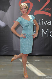 Crystal Allen looked stylishly retro in her polka-dot aqua dress during the 'Crooked Arrows' photocall.