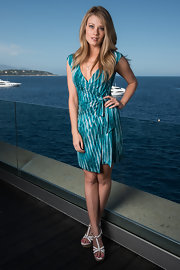 Kim Matula wore a tie-dye mini dress during the portrait sessions of Monte Carlo TV Festival.