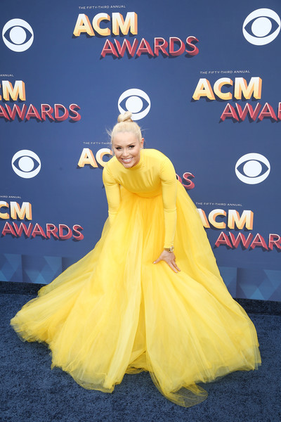 More Pics of Lindsey Vonn Princess Gown (6 of 7) - Dresses & Skirts Lookbook - StyleBistro [yellow,carpet,costume,premiere,red carpet,flooring,dress,fictional character,style,arrivals,lindsey vonn,nevada,las vegas,mgm grand garden arena,academy of country music awards]