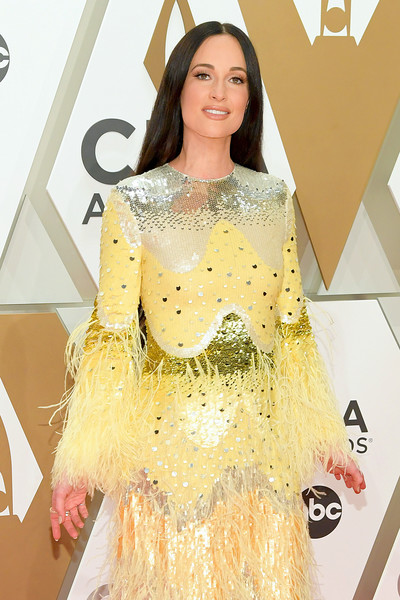 More Pics of Kacey Musgraves Sequin Dress (1 of 8) - Dresses & Skirts Lookbook - StyleBistro [fashion model,clothing,fashion,yellow,dress,beauty,hairstyle,shoulder,red carpet,carpet,arrivals,kacey musgraves,cma awards,nashville,tennessee,music city center]