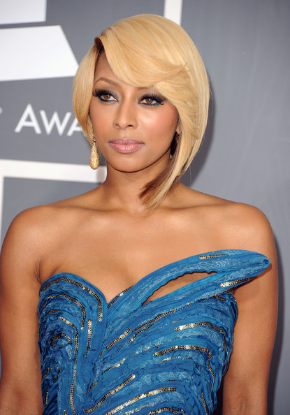 More Pics of Keri Hilson Strapless Dress (3 of 6) - Dresses & Skirts Lookbook - StyleBistro [hair,shoulder,face,hairstyle,clothing,blond,beauty,eyebrow,long hair,electric blue,arrivals,keri hilson,staples center,los angeles,california,annual grammy awards]