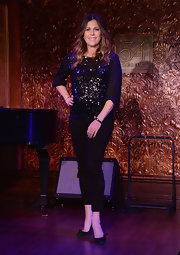 Rita Wilson sparkled on stage at the '54 Below' preview where she wore this black sequined top.