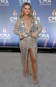 Maren Morris rocked a beaded silver Dundas gown with a plunging neckline and a thigh-high slit at the 2020 CMA Awards.