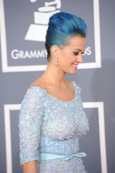 More Pics of Katy Perry Diamond Bracelet (2 of 25) - Bracelets Lookbook - StyleBistro [hair,hairstyle,dress,clothing,shoulder,bun,beauty,fashion,gown,chignon,arrivals,katy perry,staples center,los angeles,california,54th annual grammy awards]