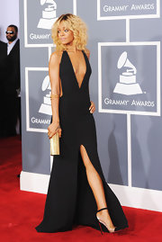 Rihanna topped off her sexy black dress with cap-toe pumps.