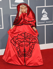 Nicki Minaj channeled evil Little Red Riding Hood for this zany look at the Grammys.