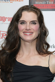 Brooke Shields paired her black dress with long cascading curls.